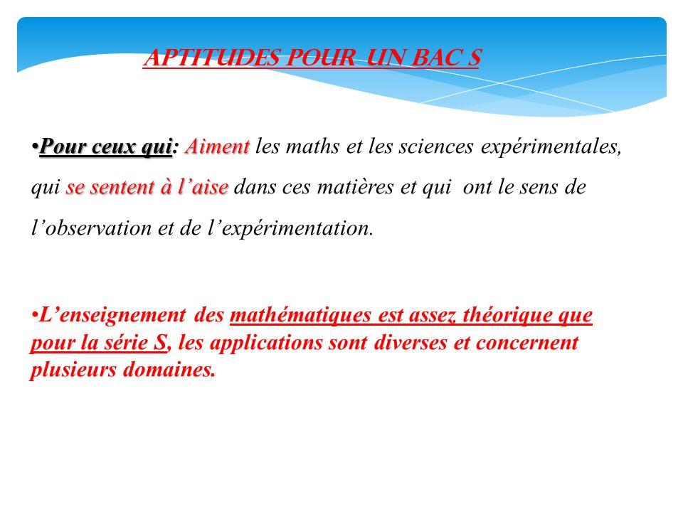 APTITUDEs pour UN BAC S Pour ceux quiAiment se sentent à laisePour ceux qui: Aiment les maths et les sciences expérimentales, qui se sentent à laise d