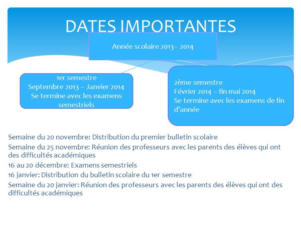 DATES IMPORTANTES Semaine du 20 novembre: Distribution du premier bulletin scolaire Semaine du 25 novembre: Réunion des professeurs avec les parents d