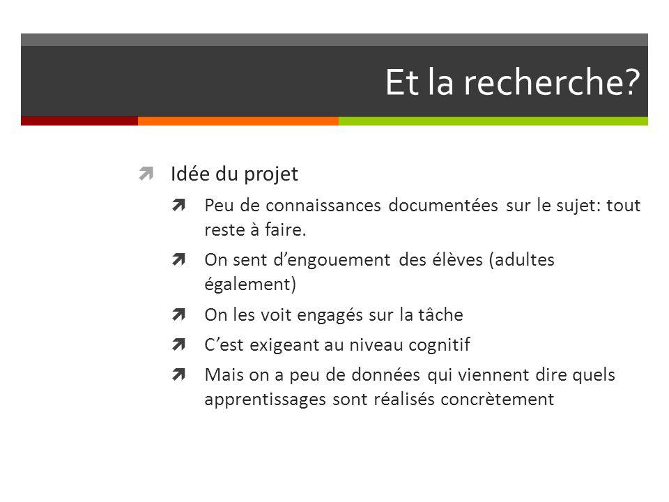 Et la recherche. Idée du projet Peu de connaissances documentées sur le sujet: tout reste à faire.