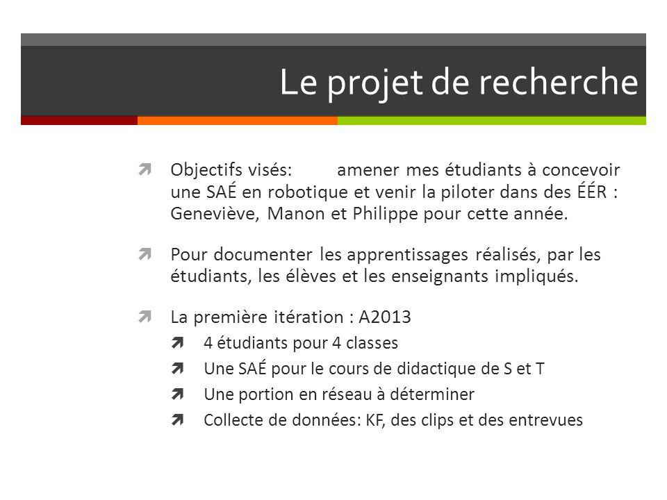 Le projet de recherche Objectifs visés:amener mes étudiants à concevoir une SAÉ en robotique et venir la piloter dans des ÉÉR : Geneviève, Manon et Philippe pour cette année.