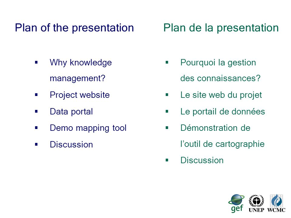 2 Plan of the presentation Why knowledge management? Project website Data portal Demo mapping tool Discussion Plan de la presentation Pourquoi la gest