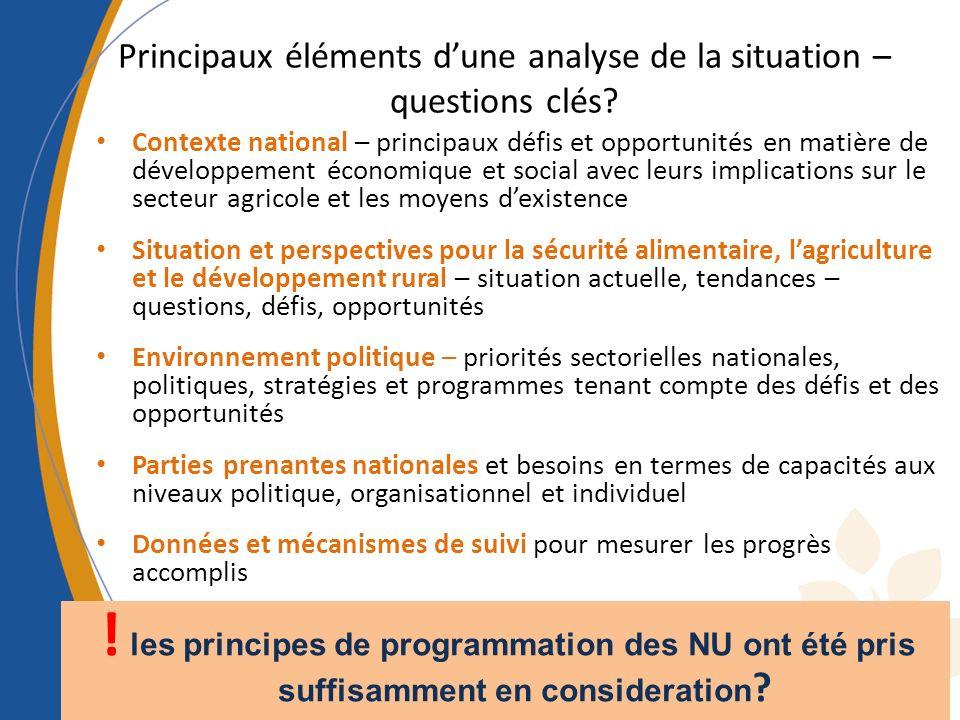 Principaux éléments dune analyse de la situation – questions clés? Contexte national – principaux défis et opportunités en matière de développement éc