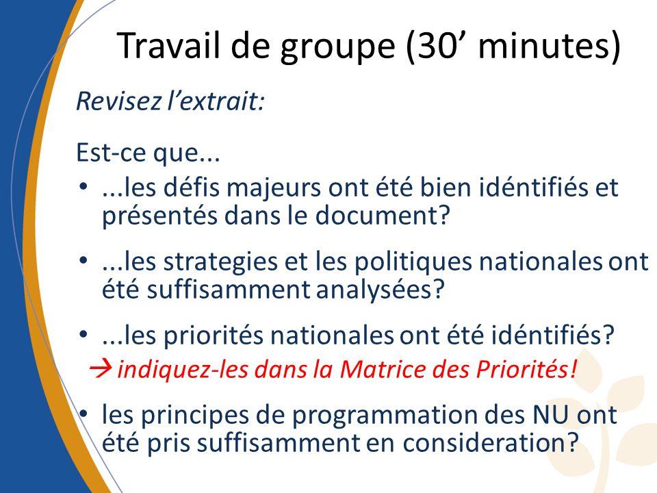 Travail de groupe (30 minutes) Revisez lextrait: Est-ce que......les défis majeurs ont été bien idéntifiés et présentés dans le document?...les strate