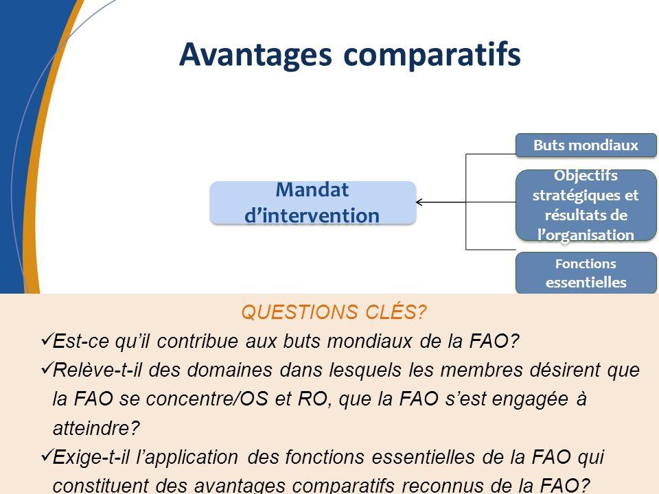 Avantages comparatifs Mandat dintervention Buts mondiaux Objectifs stratégiques et résultats de lorganisation Fonctions essentielles QUESTIONS CLÉS? E