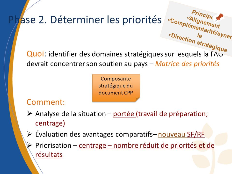 CAUSES EFFECTS Problem Focal Developing Arbre à problèmes Turning the problem into a positive statement can give the outcome or impact Addressing the causes can identify possible outputs and activities Addressing the effects identifies possible indicators But why.