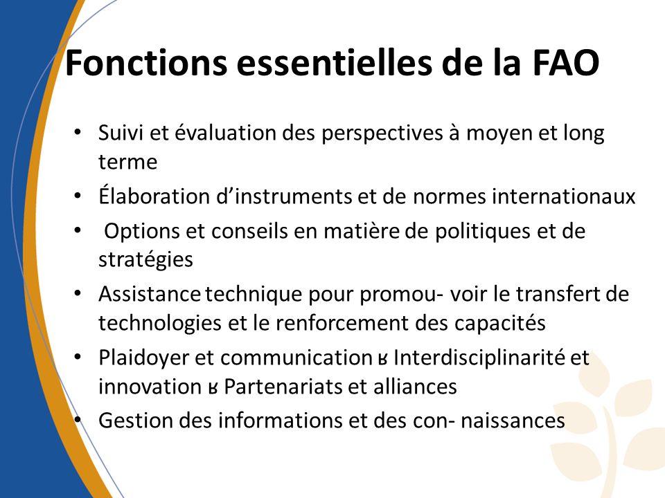 Fonctions essentielles de la FAO Suivi et évaluation des perspectives à moyen et long terme Élaboration dinstruments et de normes internationaux Optio
