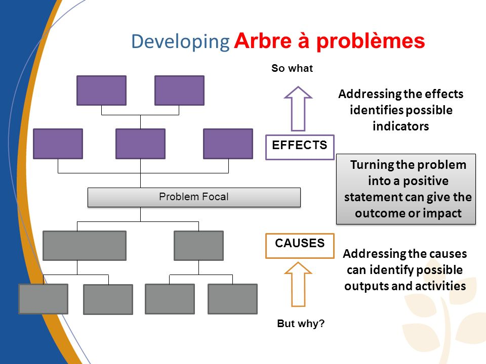 CAUSES EFFECTS Problem Focal Developing Arbre à problèmes Turning the problem into a positive statement can give the outcome or impact Addressing the