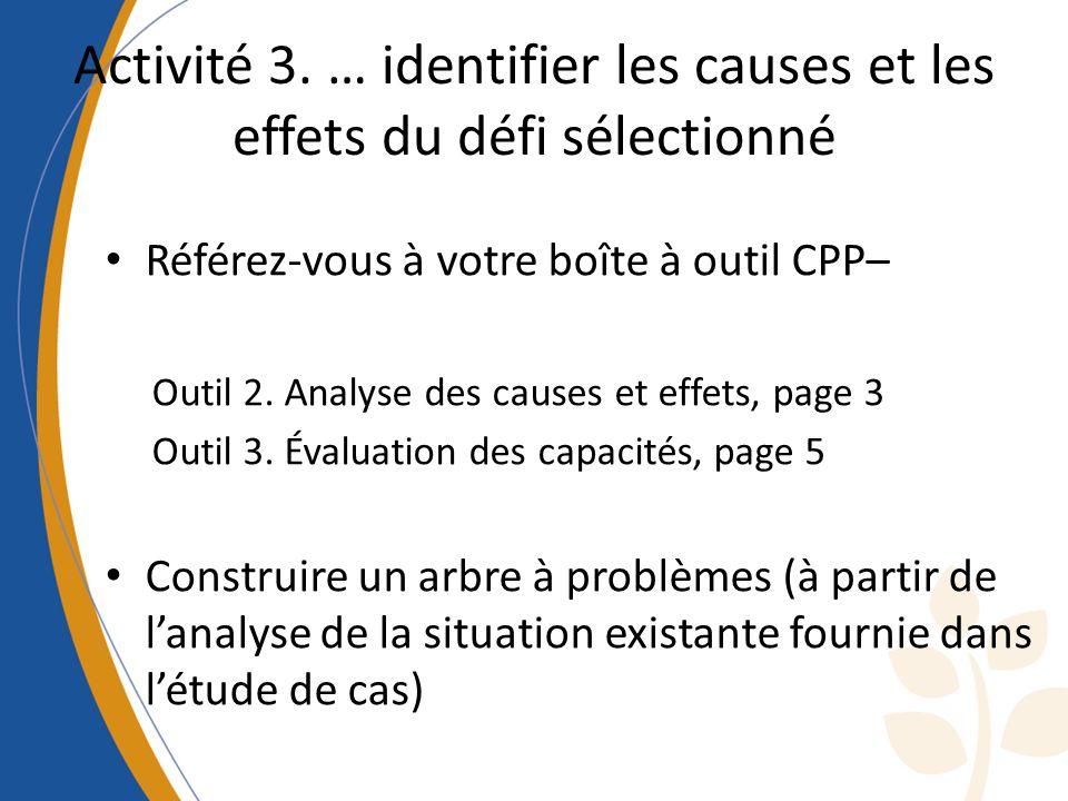 Activité 3. … identifier les causes et les effets du défi sélectionné Référez-vous à votre boîte à outil CPP– Outil 2. Analyse des causes et effets, p