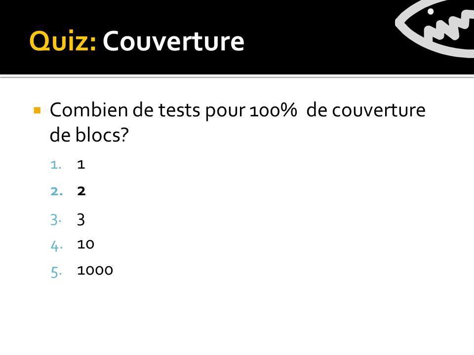 Quiz: Couverture Combien de tests pour 100% de couverture de blocs 1. 1 2. 2 3. 3 4. 10 5. 1000