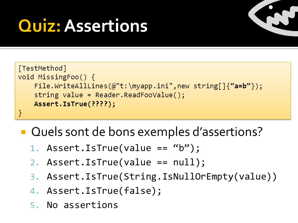 Quiz: Assertions Quels sont de bons exemples dassertions.