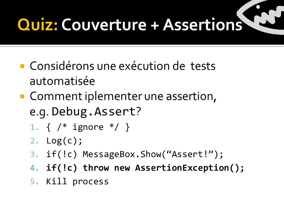 Quiz: Couverture + Assertions Considérons une exécution de tests automatisée Comment iplementer une assertion, e.g.