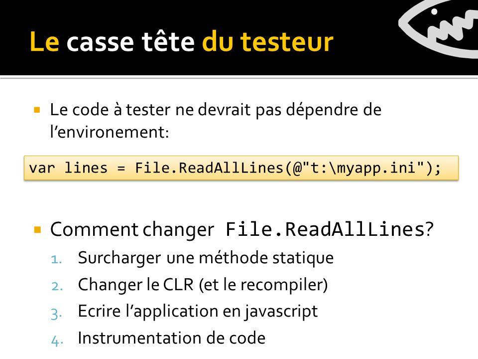 Le code à tester ne devrait pas dépendre de lenvironement: Comment changer File.ReadAllLines .
