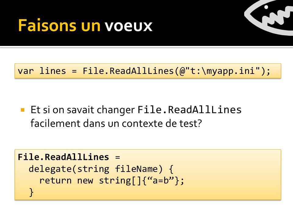 Et si on savait changer File.ReadAllLines facilement dans un contexte de test.