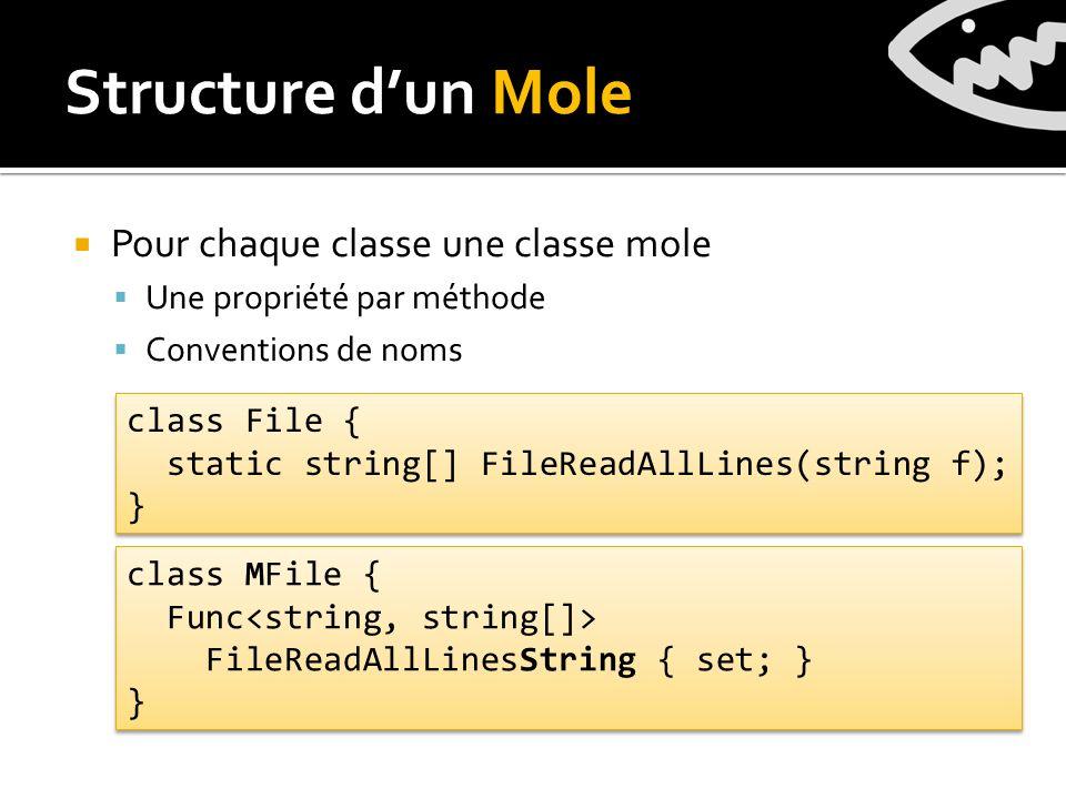 Pour chaque classe une classe mole Une propriété par méthode Conventions de noms Structure dun Mole class File { static string[] FileReadAllLines(string f); } class File { static string[] FileReadAllLines(string f); } class MFile { Func FileReadAllLinesString { set; } } class MFile { Func FileReadAllLinesString { set; } }