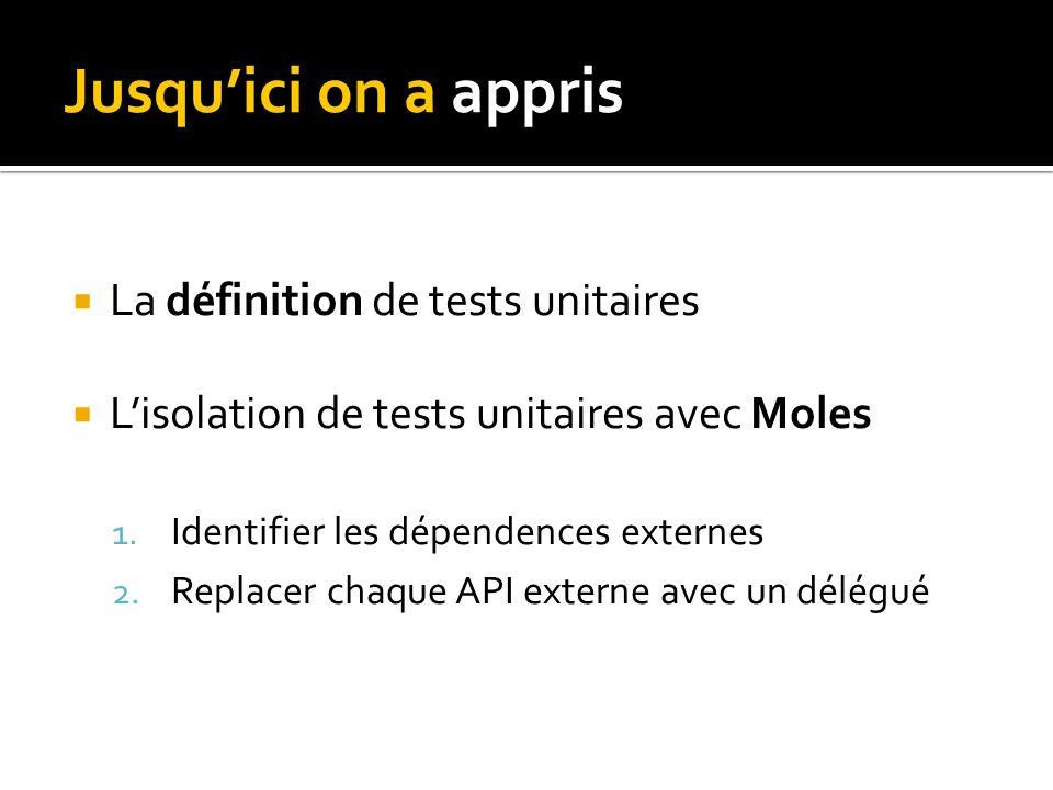 Jusquici on a appris La définition de tests unitaires Lisolation de tests unitaires avec Moles 1.