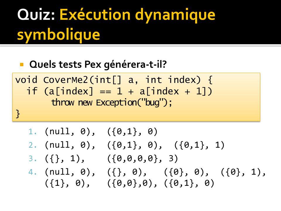 Quiz: Exécution dynamique symbolique Quels tests Pex générera-t-il.