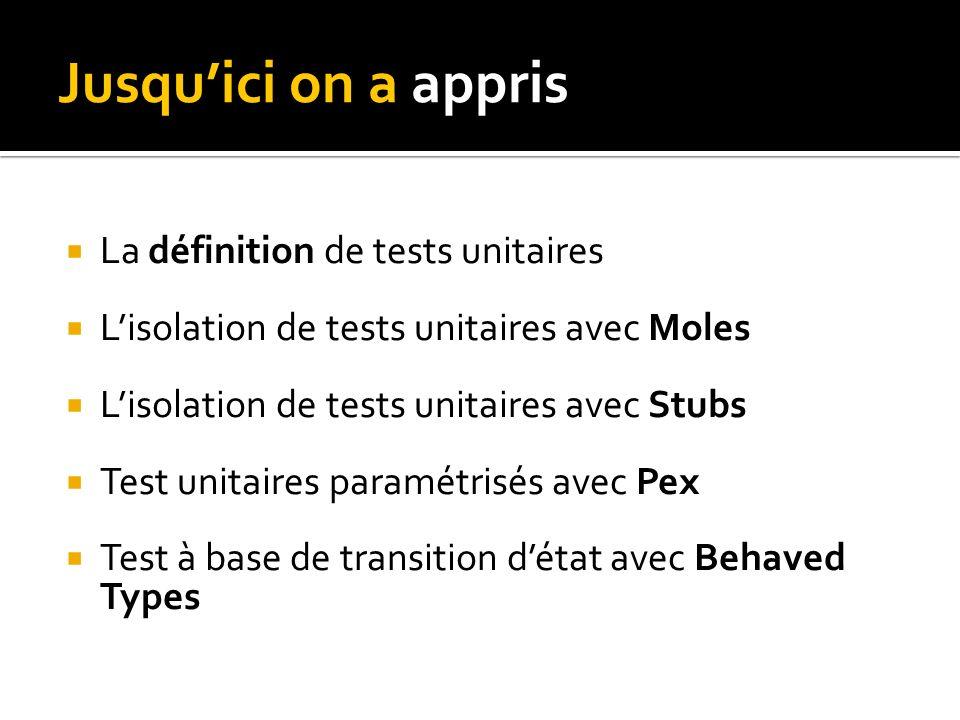 Jusquici on a appris La définition de tests unitaires Lisolation de tests unitaires avec Moles Lisolation de tests unitaires avec Stubs Test unitaires paramétrisés avec Pex Test à base de transition détat avec Behaved Types