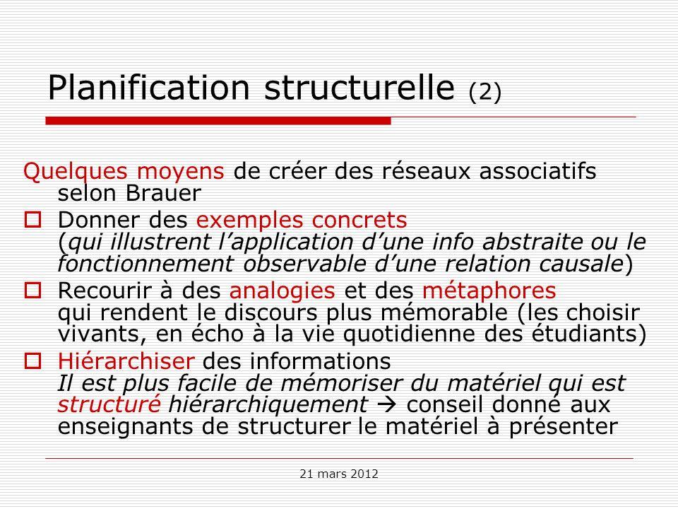21 mars 2012 Planification structurelle (2) Quelques moyens de créer des réseaux associatifs selon Brauer Donner des exemples concrets (qui illustrent