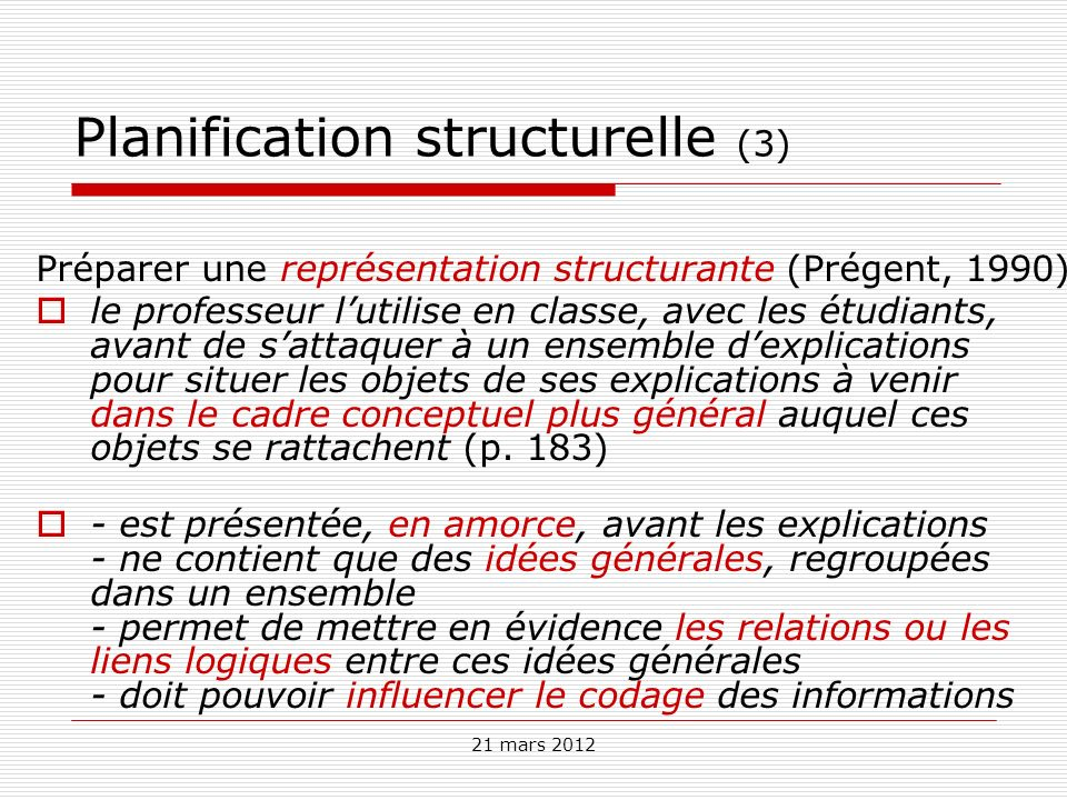 21 mars 2012 Planification structurelle (3) Préparer une représentation structurante (Prégent, 1990) le professeur lutilise en classe, avec les étudia