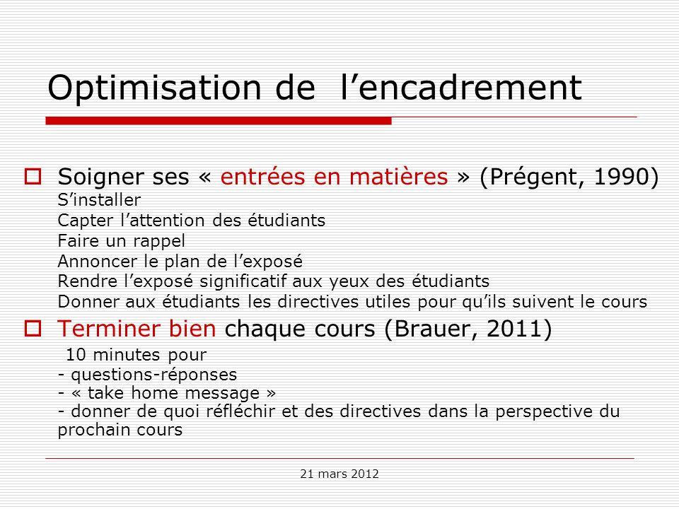 21 mars 2012 Optimisation de lencadrement Soigner ses « entrées en matières » (Prégent, 1990) Sinstaller Capter lattention des étudiants Faire un rapp