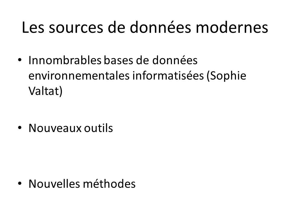 Les sources de données modernes Innombrables bases de données environnementales informatisées (Sophie Valtat) Nouveaux outils Nouvelles méthodes