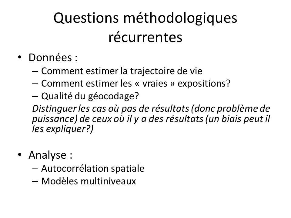 Questions méthodologiques récurrentes Données : – Comment estimer la trajectoire de vie – Comment estimer les « vraies » expositions.