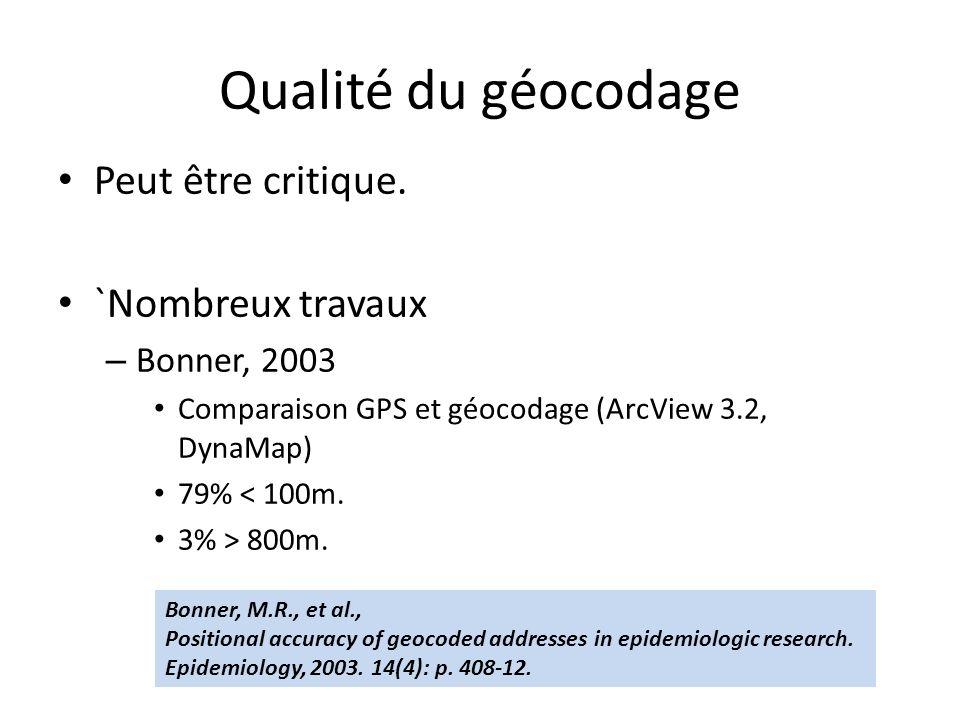 Qualité du géocodage Peut être critique.