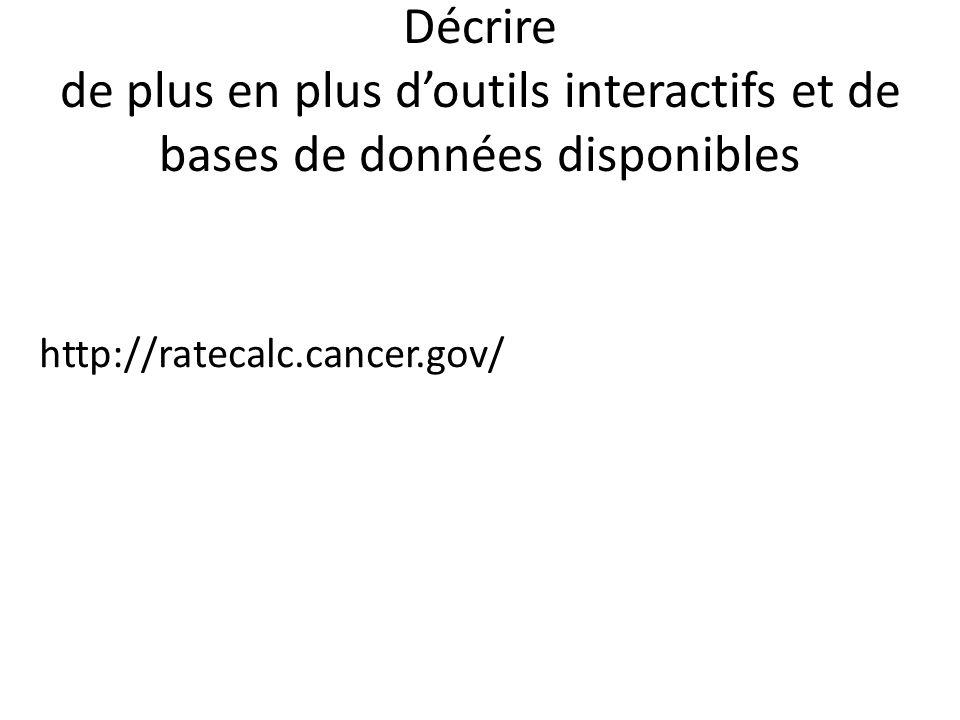 Décrire de plus en plus doutils interactifs et de bases de données disponibles http://ratecalc.cancer.gov/