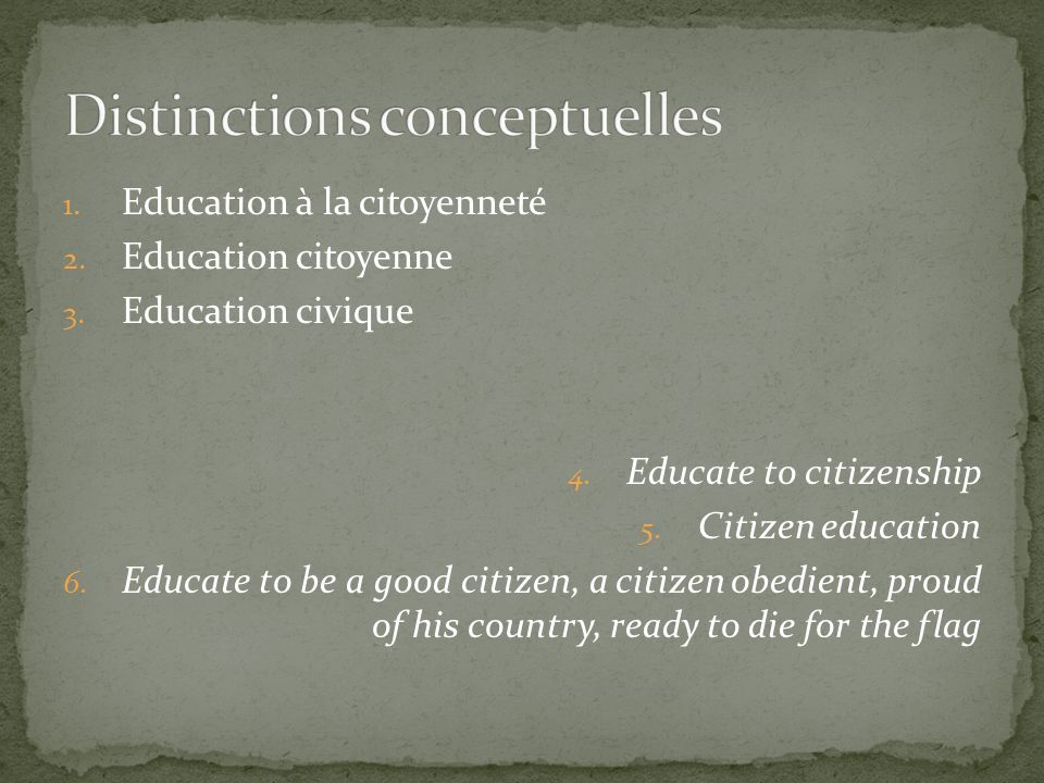 1. Education à la citoyenneté 2. Education citoyenne 3. Education civique 4. Educate to citizenship 5. Citizen education 6. Educate to be a good citiz