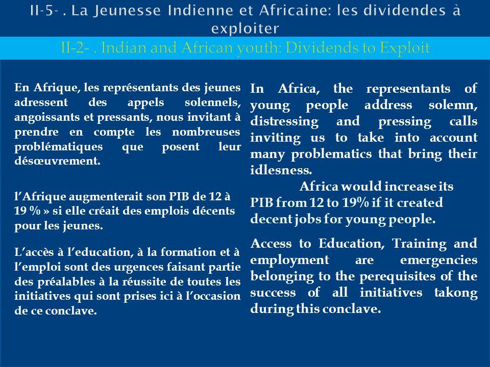 En Afrique, les représentants des jeunes adressent des appels solennels, angoissants et pressants, nous invitant à prendre en compte les nombreuses pr