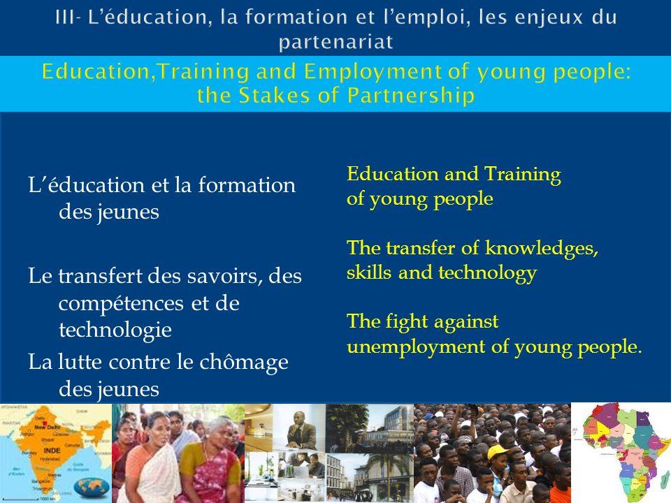 Léducation et la formation des jeunes Le transfert des savoirs, des compétences et de technologie La lutte contre le chômage des jeunes Education and