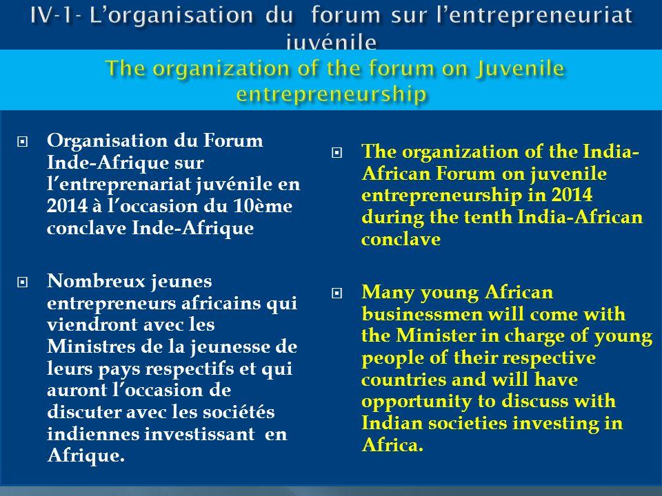 Organisation du Forum Inde-Afrique sur lentreprenariat juvénile en 2014 à loccasion du 10ème conclave Inde-Afrique Nombreux jeunes entrepreneurs afric
