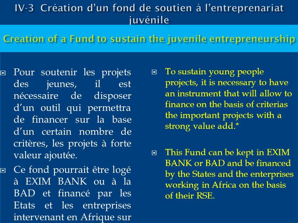 Pour soutenir les projets des jeunes, il est nécessaire de disposer dun outil qui permettra de financer sur la base dun certain nombre de critères, le