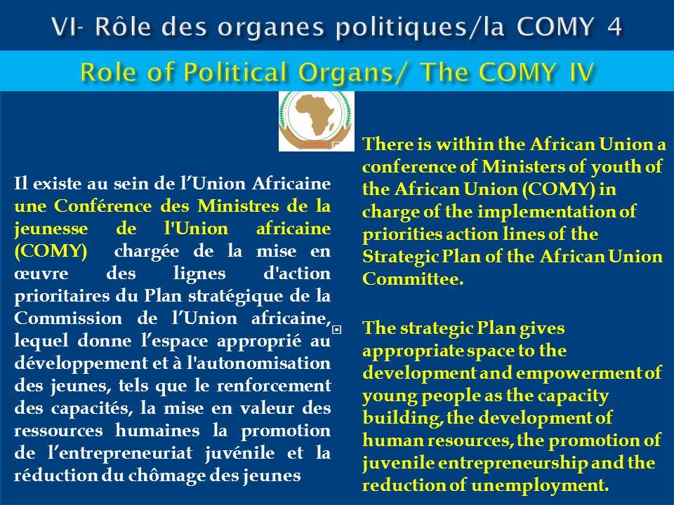 Il existe au sein de lUnion Africaine une Conférence des Ministres de la jeunesse de l'Union africaine (COMY) chargée de la mise en œuvre des lignes d