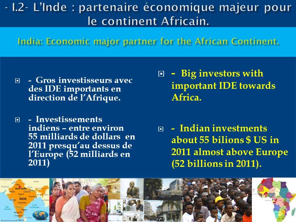 - Gros investisseurs avec des IDE importants en direction de lAfrique. - Investissements indiens – entre environ 55 milliards de dollars en 2011 presq