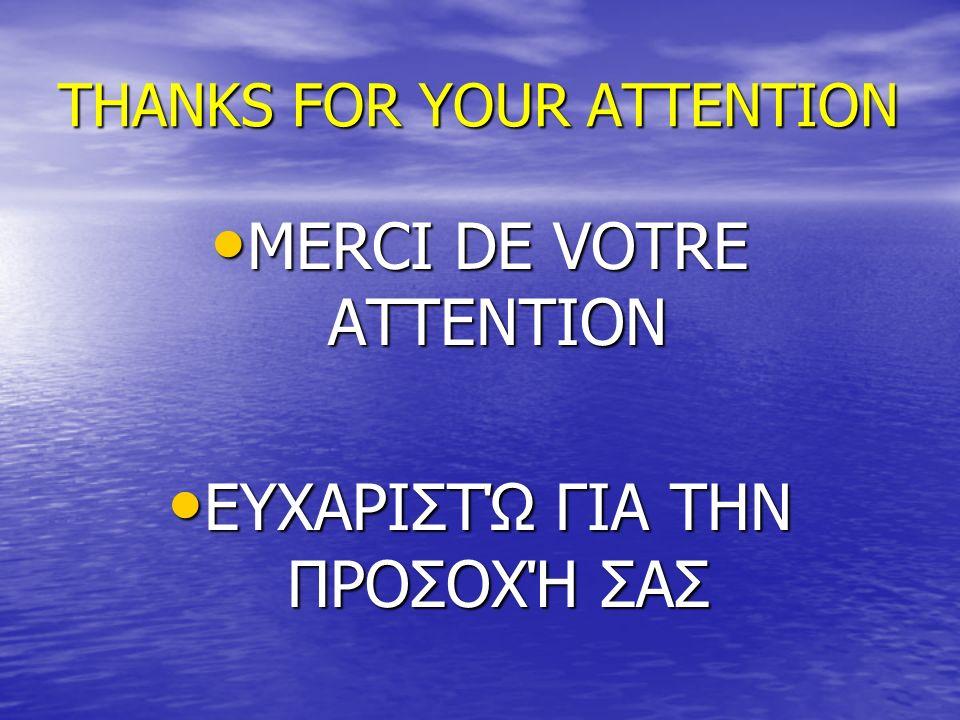 THANKS FOR YOUR ATTENTION MERCI DE VOTRE ATTENTION MERCI DE VOTRE ATTENTION ΕΥΧΑΡΙΣΤΏ ΓΙΑ ΤΗΝ ΠΡΟΣΟΧΉ ΣΑΣ ΕΥΧΑΡΙΣΤΏ ΓΙΑ ΤΗΝ ΠΡΟΣΟΧΉ ΣΑΣ