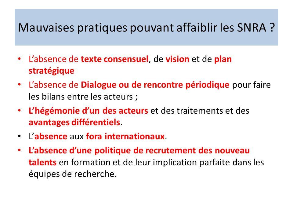 Mauvaises pratiques pouvant affaiblir les SNRA ? Labsence de texte consensuel, de vision et de plan stratégique Labsence de Dialogue ou de rencontre p