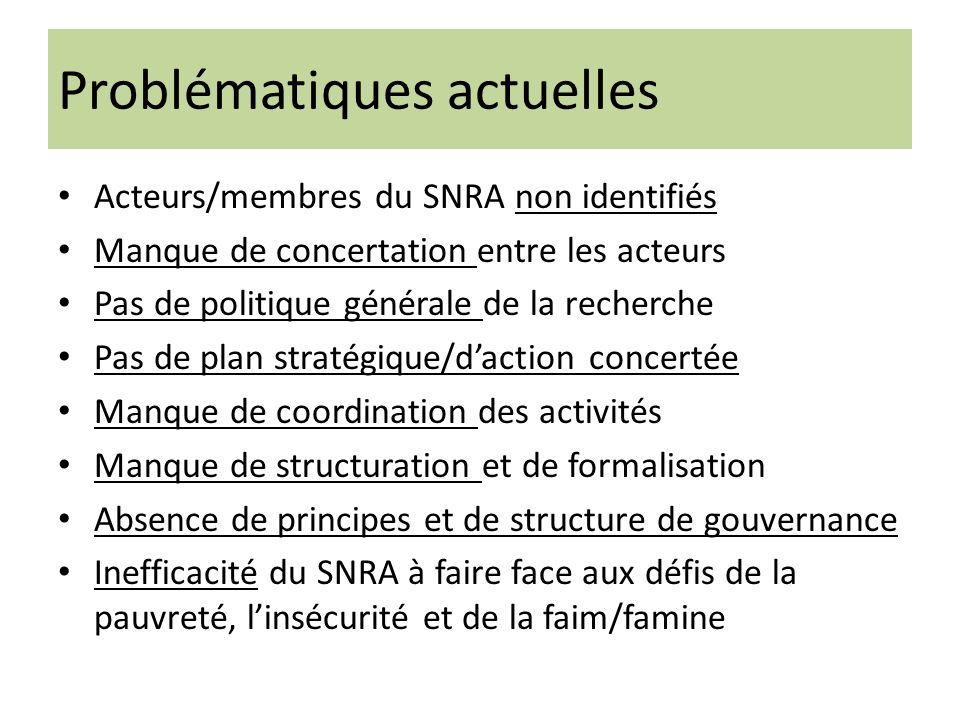 Problématiques actuelles Acteurs/membres du SNRA non identifiés Manque de concertation entre les acteurs Pas de politique générale de la recherche Pas