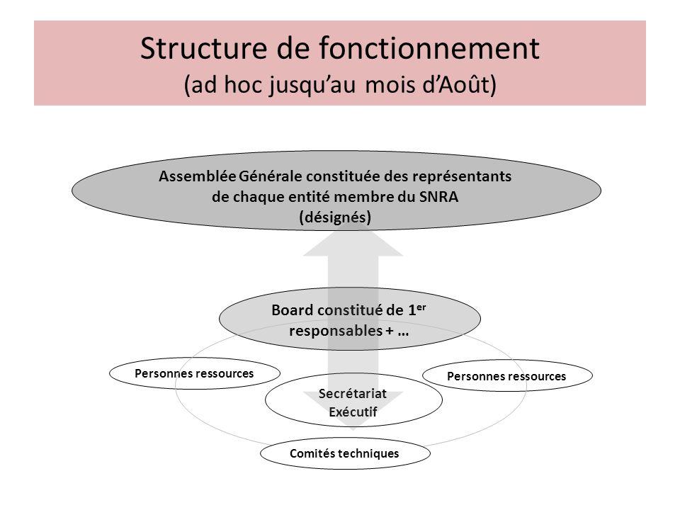 Structure de fonctionnement (ad hoc jusquau mois dAoût) Assemblée Générale constituée des représentants de chaque entité membre du SNRA (désignés) Boa