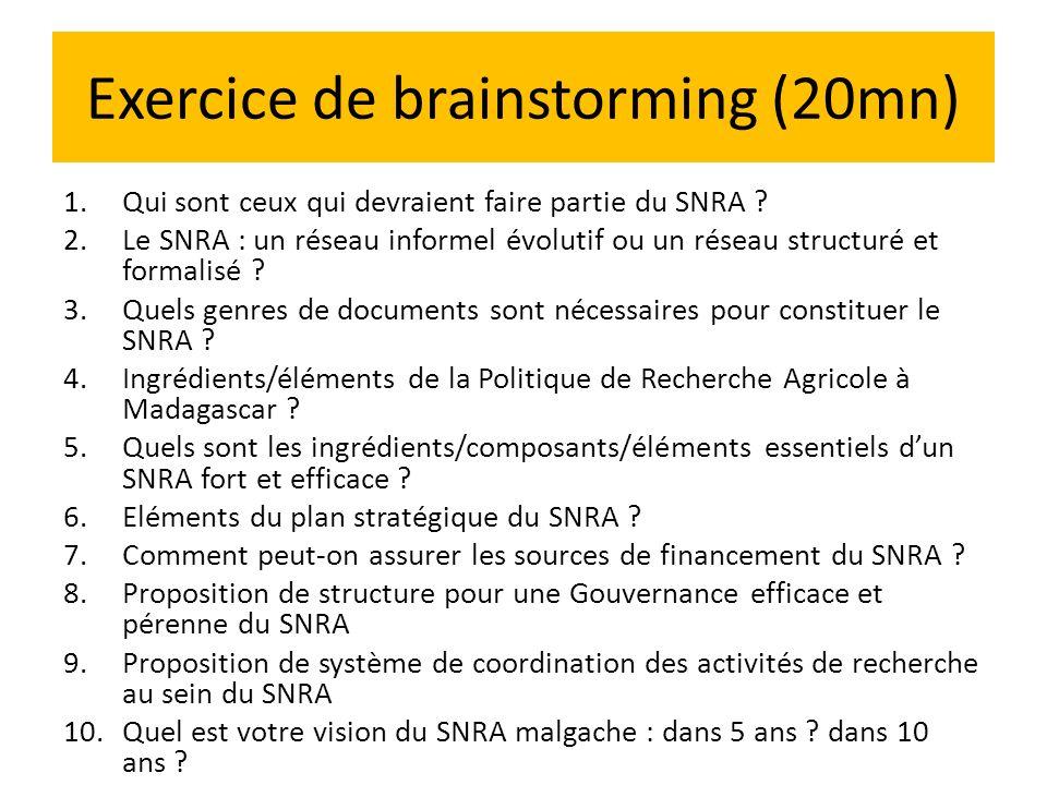 Exercice de brainstorming (20mn) 1.Qui sont ceux qui devraient faire partie du SNRA ? 2.Le SNRA : un réseau informel évolutif ou un réseau structuré e