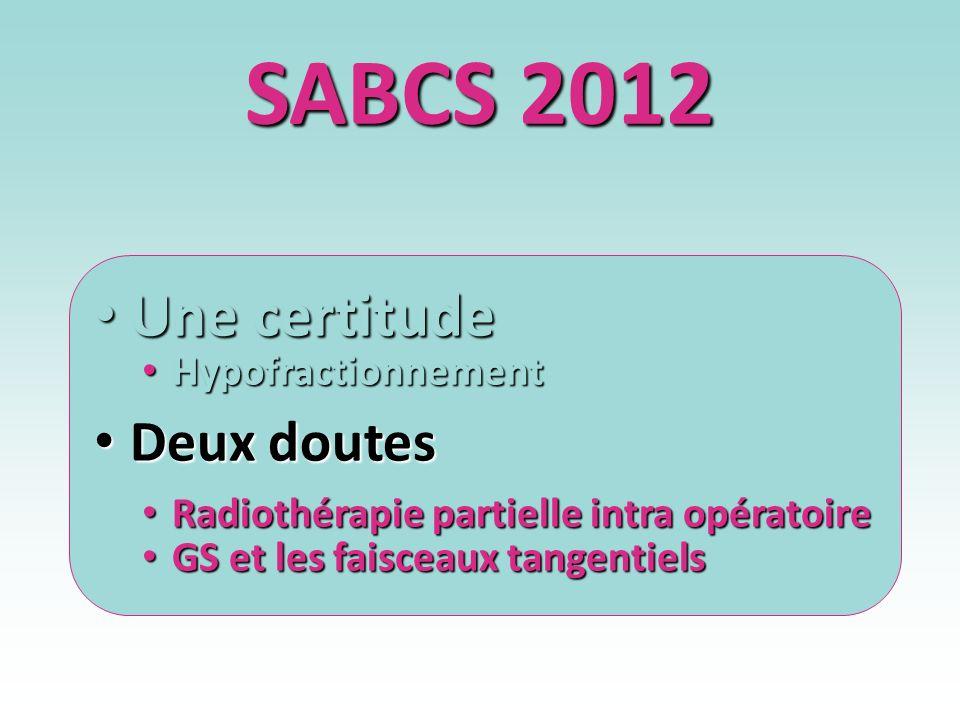 SABCS 2012 Une certitude Une certitude Hypofractionnement Hypofractionnement Deux doutes Deux doutes Radiothérapie partielle intra opératoire Radiothé