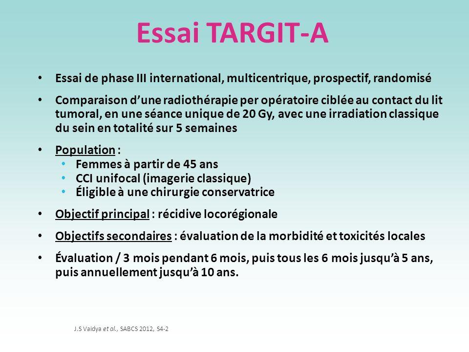 Essai TARGIT-A Essai de phase III international, multicentrique, prospectif, randomisé Comparaison dune radiothérapie per opératoire ciblée au contact