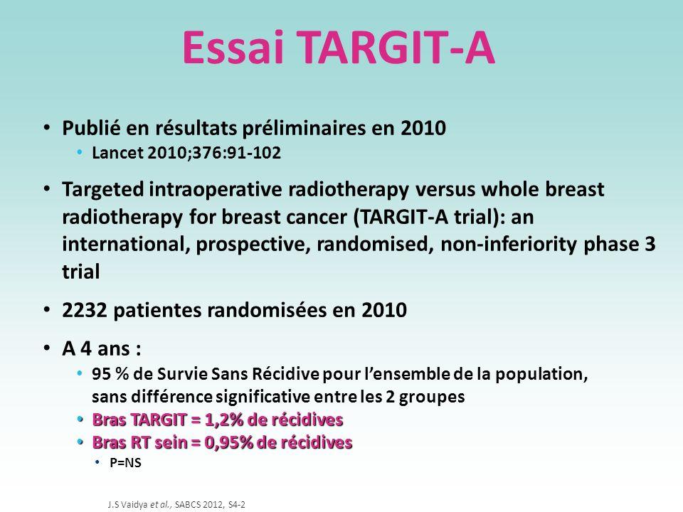 Essai TARGIT-A Publié en résultats préliminaires en 2010 Lancet 2010;376:91-102 Targeted intraoperative radiotherapy versus whole breast radiotherapy