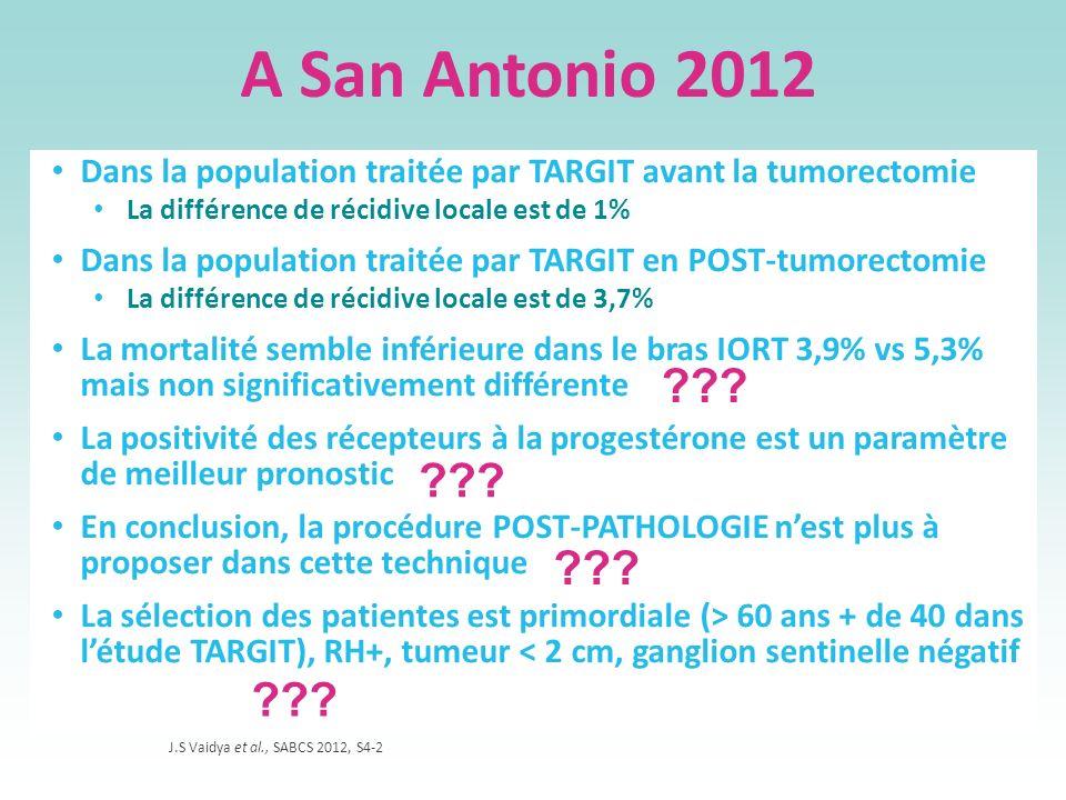 A San Antonio 2012 Dans la population traitée par TARGIT avant la tumorectomie La différence de récidive locale est de 1% Dans la population traitée p