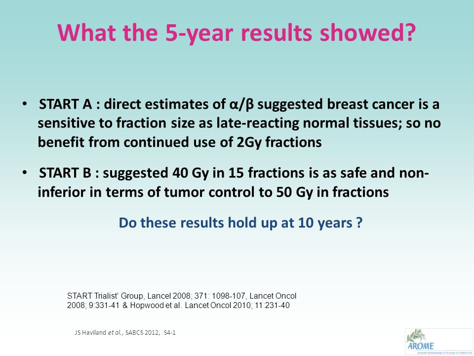START Trials : design and endpoints Primary endpoint : - local-regional relapse Secondary endpoint : - Normal tissue effects (assessed by physicians, photographs & patients) - disease-free & overall survival Trial B N = 2215 Trial B N = 2215 Trial A N = 2236 Trial A N = 2236 50Gy in 25 # (2,0Gy) 5 wks N = 749 50Gy in 25 # (2,0Gy) 5 wks N = 749 39,0Gy in 13 # (3,0Gy) 3 wks N = 750 39,0Gy in 13 # (3,0Gy) 3 wks N = 750 41,6Gy in 13 # (3,2Gy) 3 wks N = 737 41,6Gy in 13 # (3,2Gy) 3 wks N = 737 50Gy in 25 # (2,0Gy) 5 wks N = 1105 50Gy in 25 # (2,0Gy) 5 wks N = 1105 40Gy in 15 # (2,67Gy) 3 wks N = 1110 40Gy in 15 # (2,67Gy) 3 wks N = 1110 Recruitment from 35 UK centres 1999-2002 with QA Median folow-up : - 9,3 years (trialA) - 9,9 years (Trial B) JS Haviland et al., SABCS 2012, S4-1