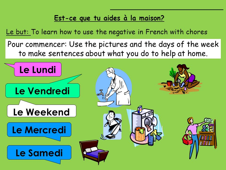 Est-ce que tu aides à la maison? Le Lundi Le Vendredi Le Mercredi Le Weekend Le but: To learn how to use the negative in French with chores __________