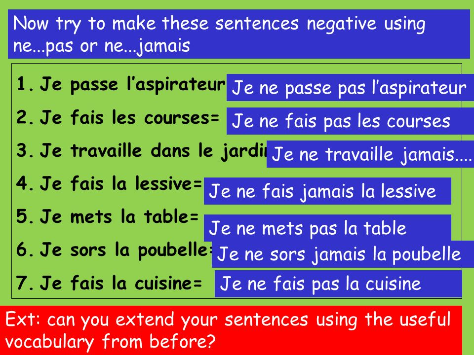 Now try to make these sentences negative using ne...pas or ne...jamais 1.Je passe laspirateur= 2.Je fais les courses= 3.Je travaille dans le jardin= 4.Je fais la lessive= 5.Je mets la table= 6.Je sors la poubelle= 7.Je fais la cuisine= Ext: can you extend your sentences using the useful vocabulary from before.