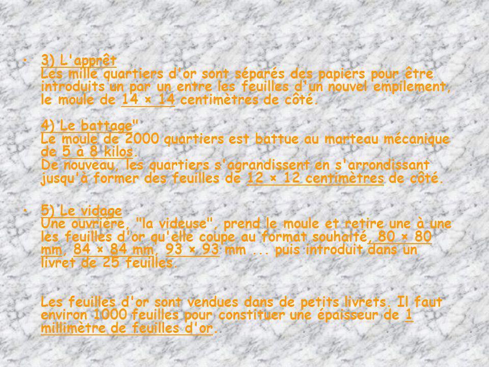 3) L apprêt Les mille quartiers d or sont séparés des papiers pour être introduits un par un entre les feuilles d un nouvel empilement, le moule de 14 × 14 centimètres de côté.
