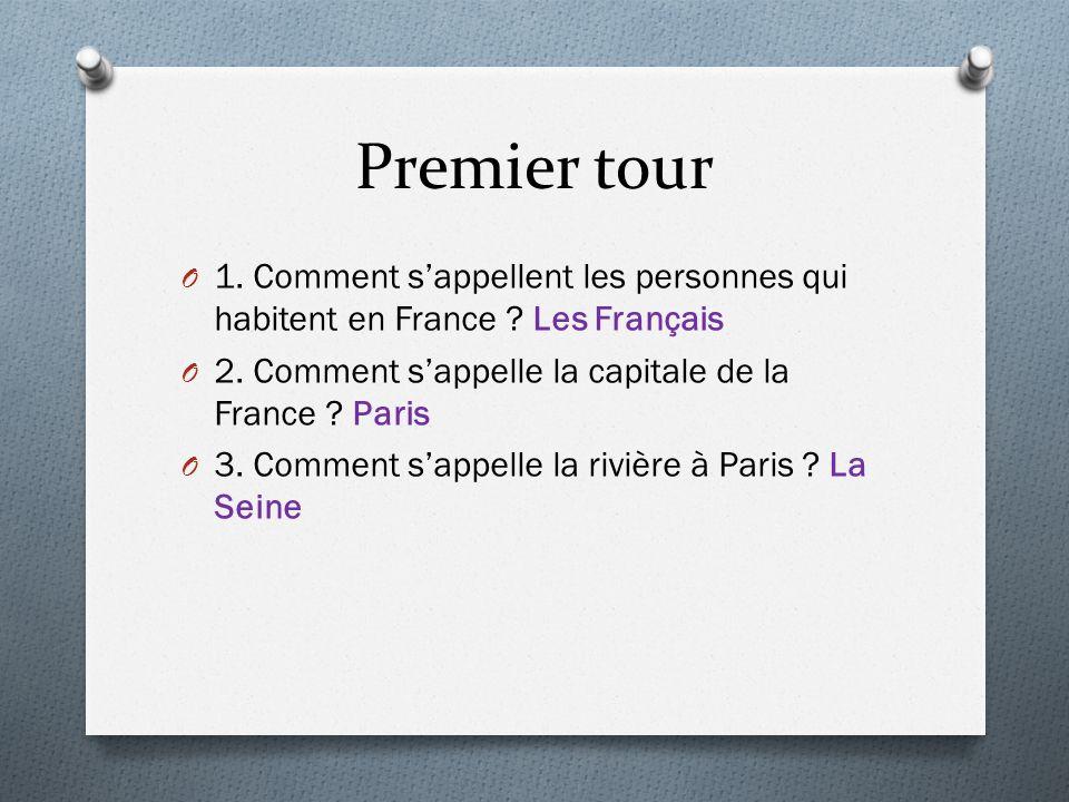 Premier tour O 1. Comment sappellent les personnes qui habitent en France ? Les Français O 2. Comment sappelle la capitale de la France ? Paris O 3. C