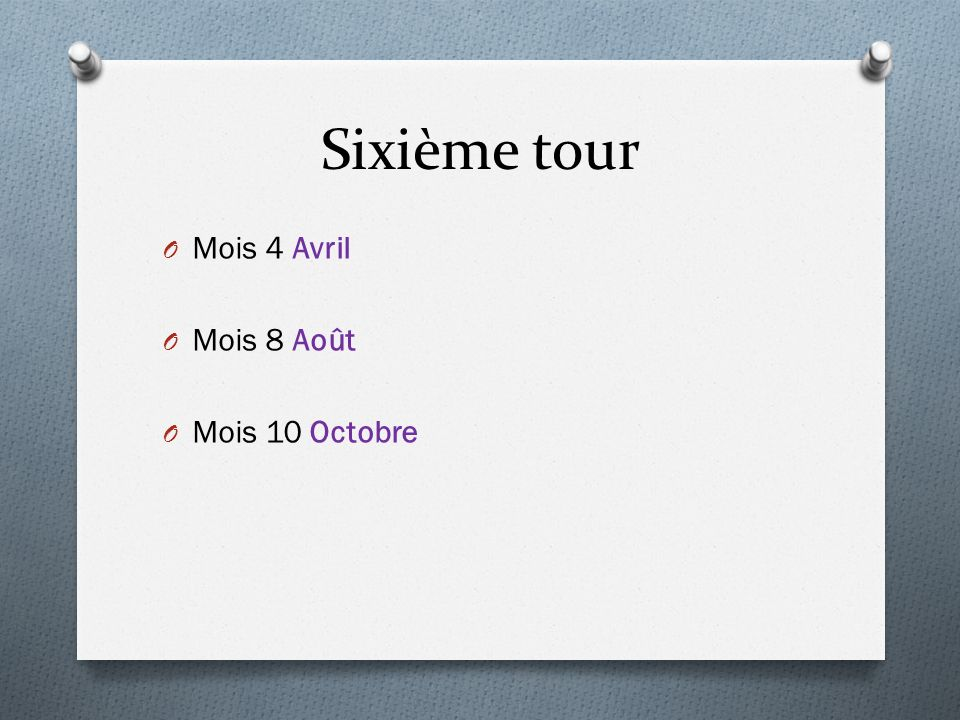 Sixième tour O Mois 4 Avril O Mois 8 Août O Mois 10 Octobre